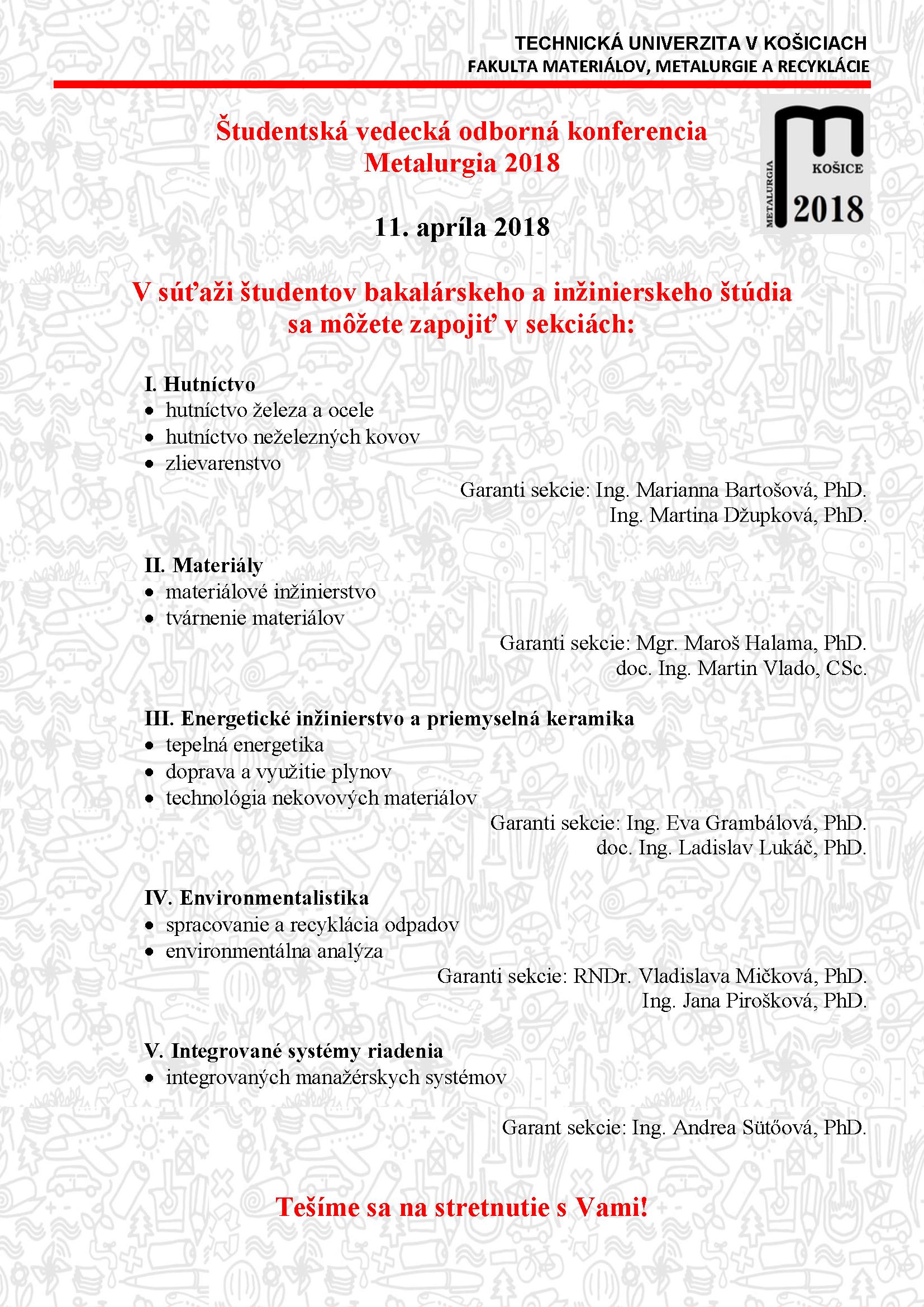 4b0cc4f71 Dekanka Fakulty materiálov, metalurgie a recyklácie Technickej univerzity v  Košiciach (FMMR TUKE) vyhlasuje Študentskú vedeckú odbornú konferenciu s  cieľom ...